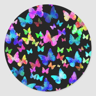 Psychedelic Butterflies Classic Round Sticker