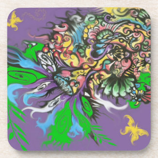 Psychedelic Butterfly and Mushroom Coasters