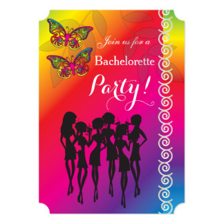 Psychedelic Butterfly Bachelorette Party Designs 13 Cm X 18 Cm Invitation Card