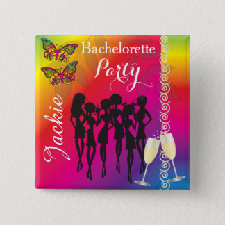 Psychedelic Butterfly Bachelorette Party Designs 15 Cm Square Badge