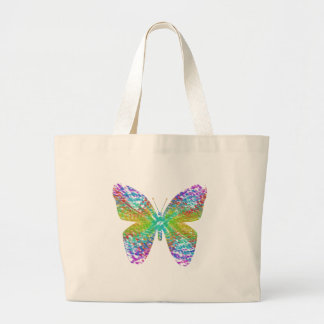 Psychedelic butterfly. large tote bag