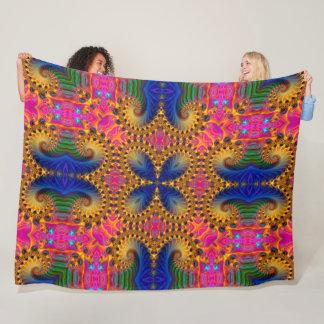 Psychedelic Butterfly Magic Fractal Mandala Fleece Blanket