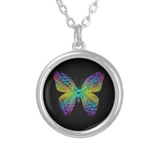 Psychedelic butterfly. silver plated necklace