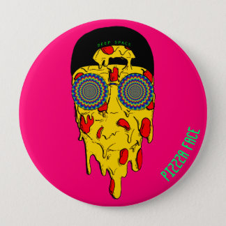 Psychedelic button - pizzza face - deep space
