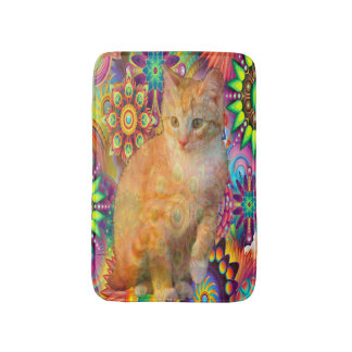 Psychedelic Cat Bathroom Mat, Tie Dye Cat Bath Mat
