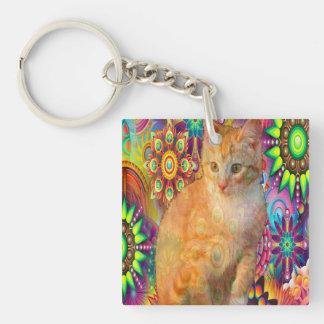 Psychedelic Cat Keychain, Tie Dye Cat Key Ring