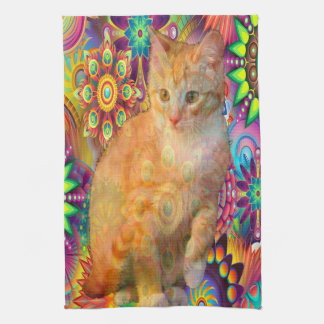 Psychedelic Cat Kitchen Towel, Tie Dye Cat Tea Towel