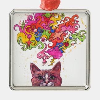 Psychedelic Cat Metal Ornament
