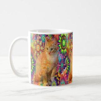 Psychedelic Cat Mug, Tie Dye Cat Coffee Mug