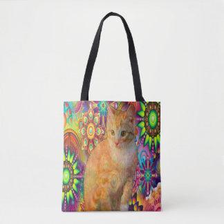 Psychedelic Cat Totebag, Tie Dye Cat Tote Bag