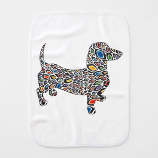 Psychedelic-Cheetah-Doxie Burp Cloths