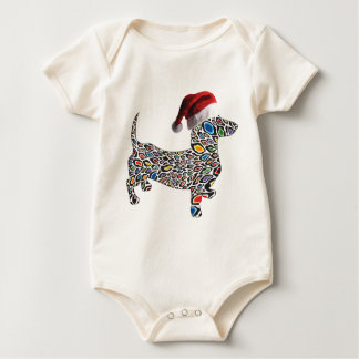 Psychedelic-Cheetah-Doxie-Santa Baby Bodysuit