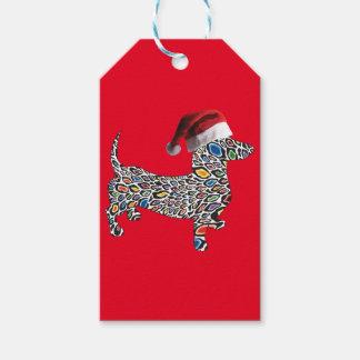 Psychedelic-Cheetah-Doxie-Santa Gift Tags