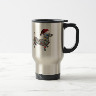 Psychedelic-Cheetah-Doxie-Santa Travel Mug