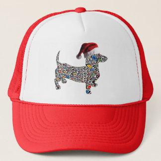 Psychedelic-Cheetah-Doxie-Santa Trucker Hat