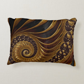 Psychedelic Chocolate Fractal Decorative Cushion
