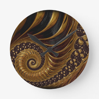 Psychedelic Chocolate Fractal Round Clock