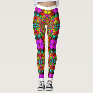 Psychedelic Christmas Ornaments Colorful Crazy Leggings