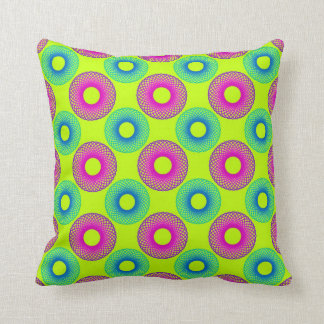 Psychedelic Circles on Fluo Green Pillow