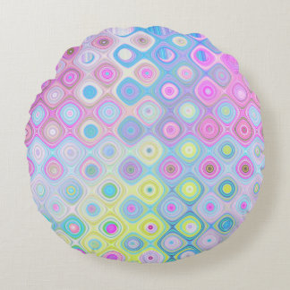 Psychedelic Circles Round Cushion