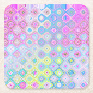 Psychedelic Circles Square Paper Coaster