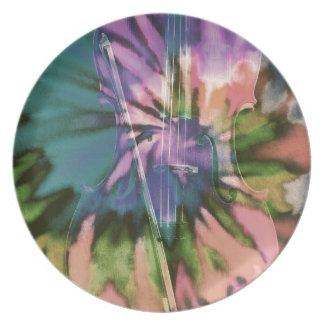 Psychedelic colorful cello plate
