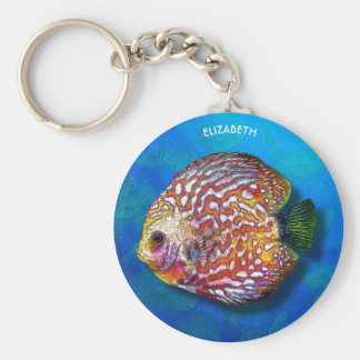 Psychedelic Colorful Exotic Discus Fish Drawing Key Ring
