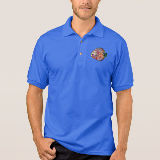 Psychedelic Colorful Exotic Discus Fish Drawing Polo Shirt