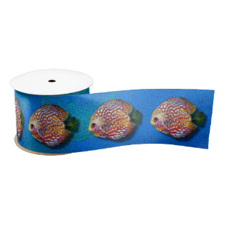 Psychedelic Colorful Exotic Discus Fish Drawing Satin Ribbon