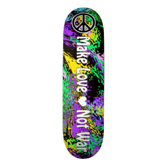 Psychedelic Colors 60's Retro Peace Sign & Slogan 19.7 Cm Skateboard Deck