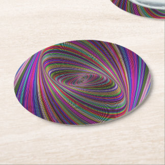 Psychedelic colors round paper coaster