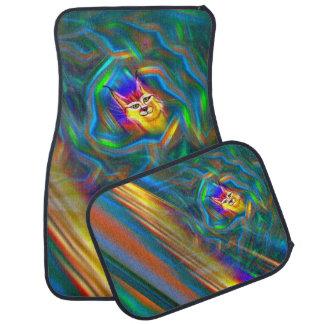 Psychedelic Colour Flow Lynx Portrait Car Mats Set