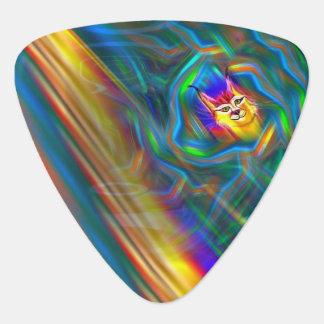 Psychedelic Colour Flow Lynx Portrait Guitar Pick