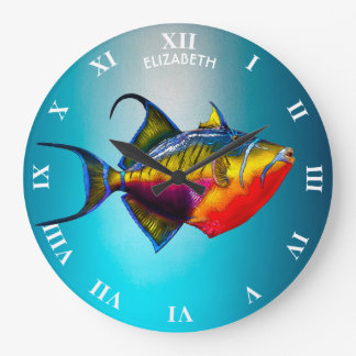 Psychedelic Colourful Triggerfish Fish Drawing Large Clock