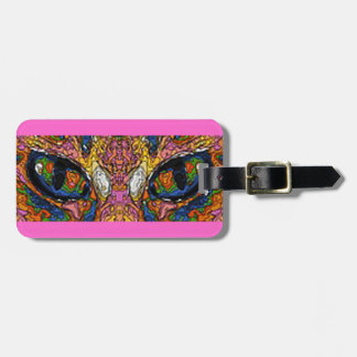 Psychedelic Cool Cat Eyes Luggage Tag