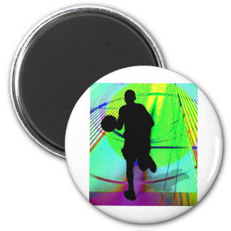 Psychedelic Court Basketball Refrigerator Magnet