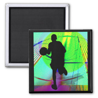 Psychedelic Court Basketball Fridge Magnet