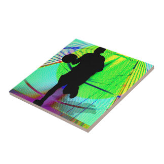 Psychedelic Court Basketball Tile