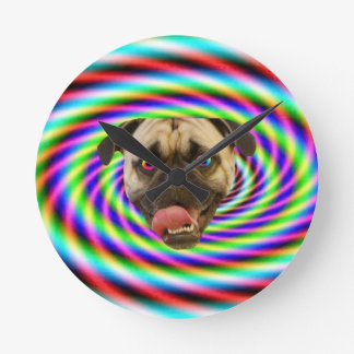 Psychedelic Crazy Pug Dog Clocks