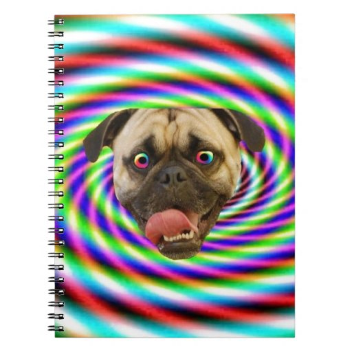 Psychedelic Crazy Pug Dog Spiral Note Book