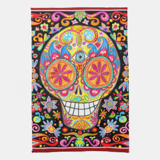 Psychedelic Day of the Dead Art Kitchen Towel