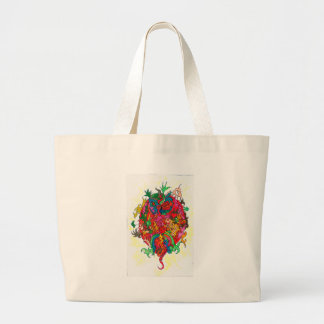 Psychedelic Dragon Large Tote Bag