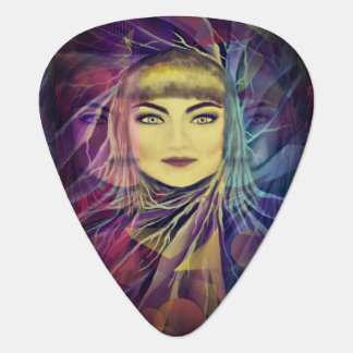 Psychedelic Dreamy Girl - Surrealism Painting Guitar Pick
