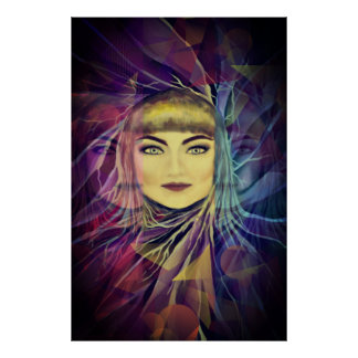 Psychedelic Dreamy Girl - Surrealism Painting Poster