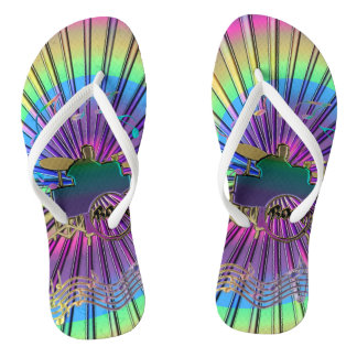 Psychedelic Drummer Totally Tripping Flip Flops Thongs