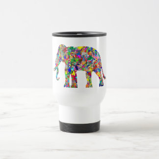 Psychedelic elephant travel mug