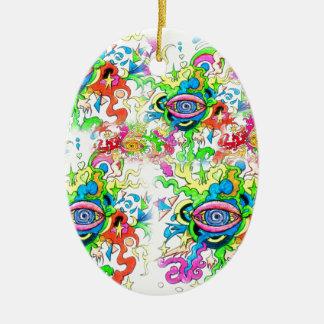 Psychedelic Eyes Ceramic Ornament