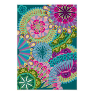 psychedelic feather flowers poster