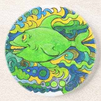 Psychedelic Fish Coaster