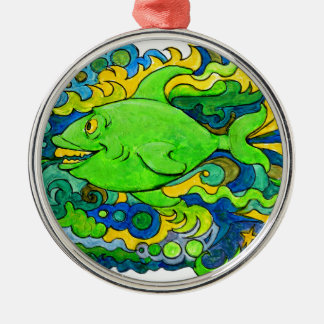 Psychedelic Fish Metal Ornament